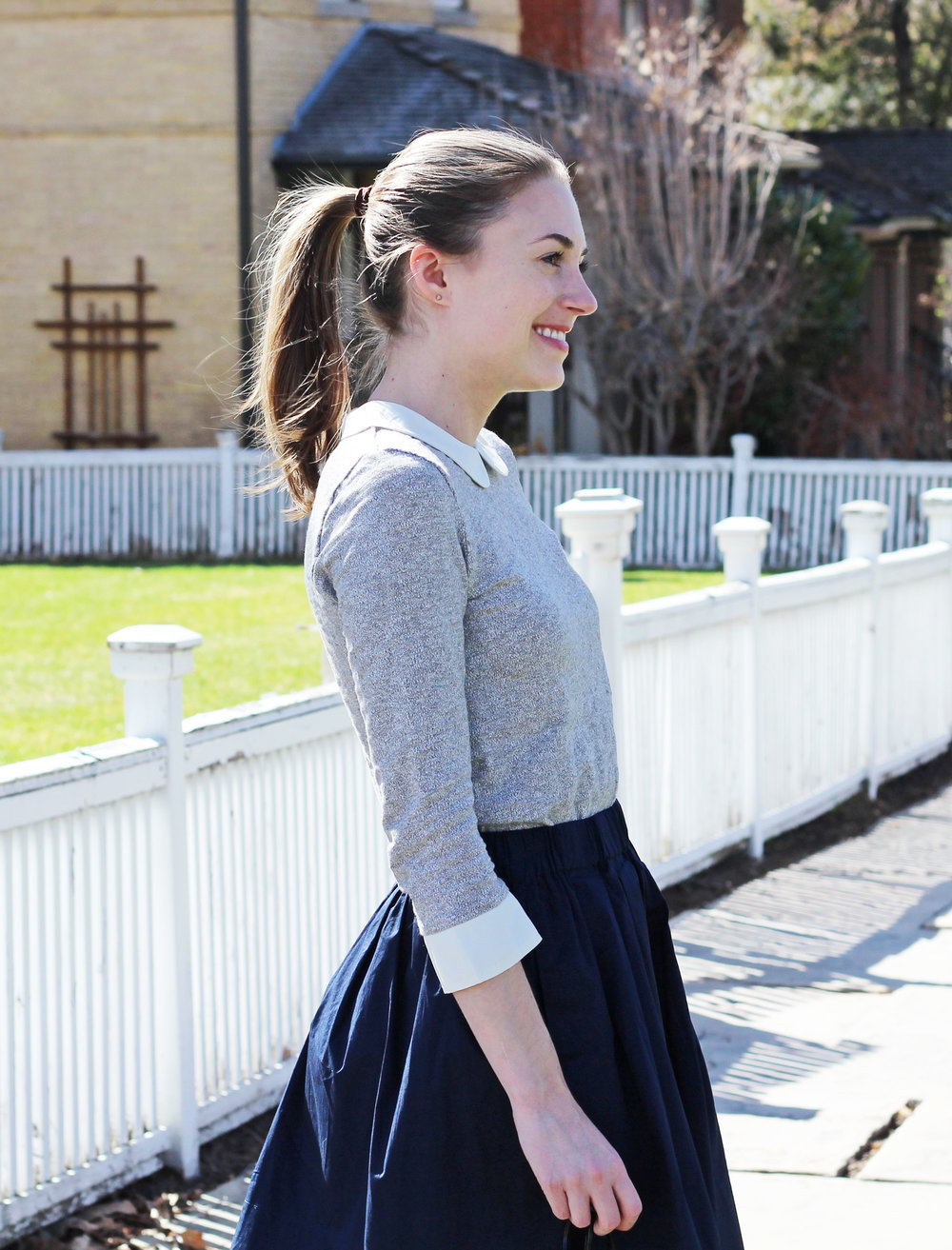 Grey Peter Pan collar top outfit with navy skirt — Cotton Cashmere Cat Hair