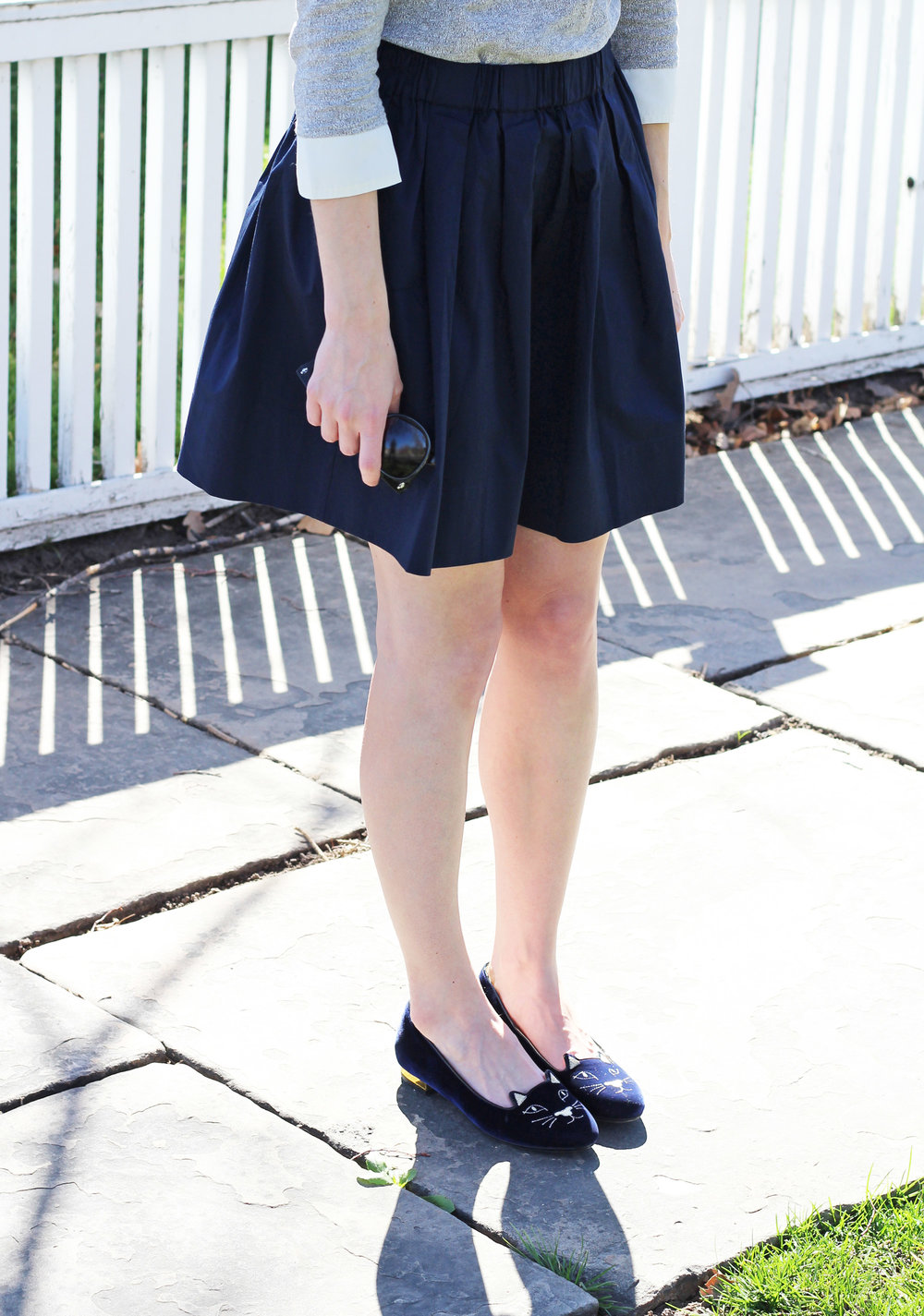 Charlotte Olympia 'Kitty' flats outfit with navy skirt — Cotton Cashmere Cat Hair