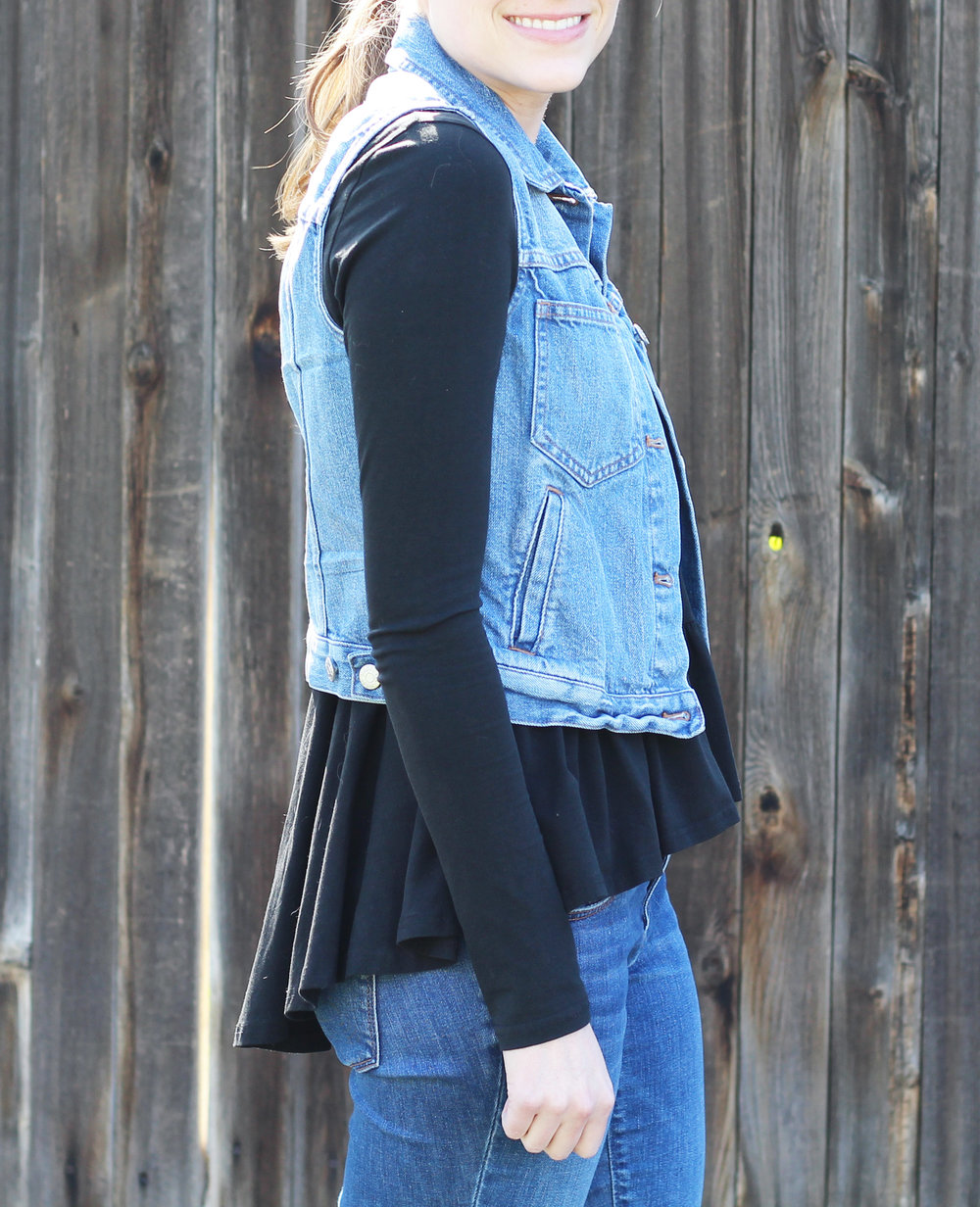 Black peplum blouse outfit with denim vest — Cotton Cashmere Cat Hair