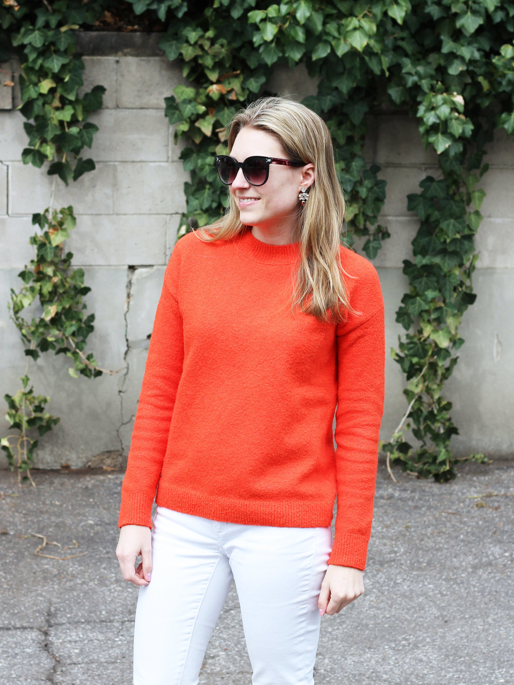 Bright red sweater outfit for spring — Cotton Cashmere Cat Hair 4c2725e9e