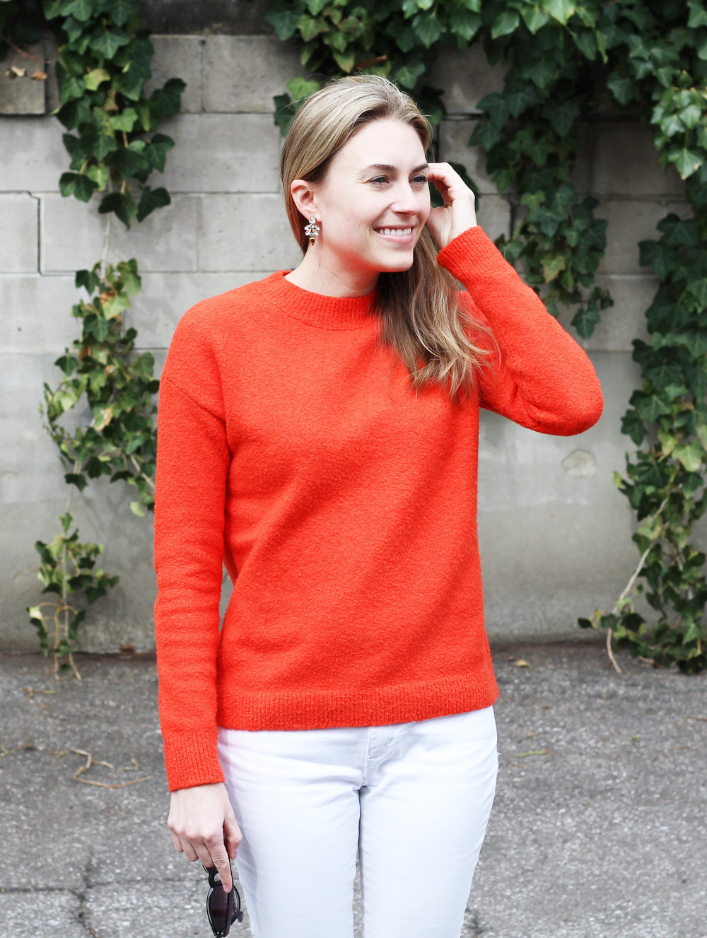 Red sweater outfit with crystal drop earrings — Cotton Cashmere Cat Hair