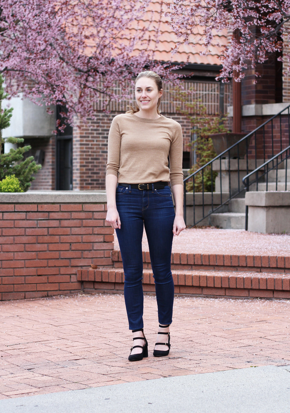 High rise denim outfit with camel sweater and strappy heels — Cotton Cashmere Cat Hair