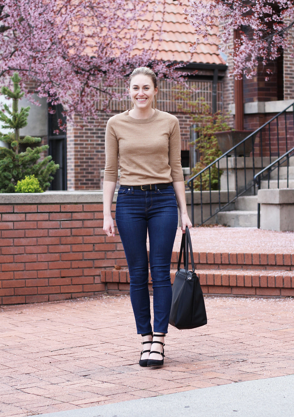 Grad school outfit with camel sweater and high-rise skinny jeans — Cotton Cashmere Cat Hair