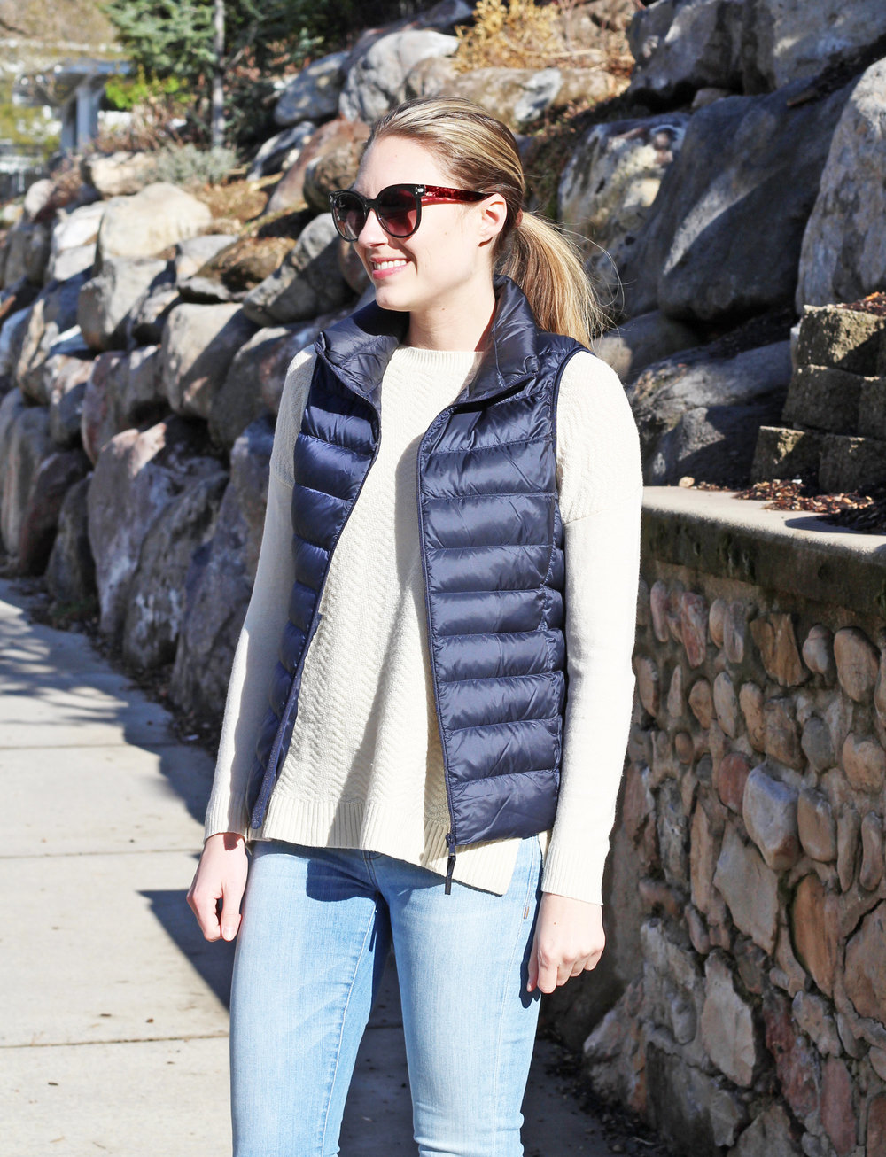 Uniqlo ultra light down vest in navy — Cotton Cashmere Cat Hair