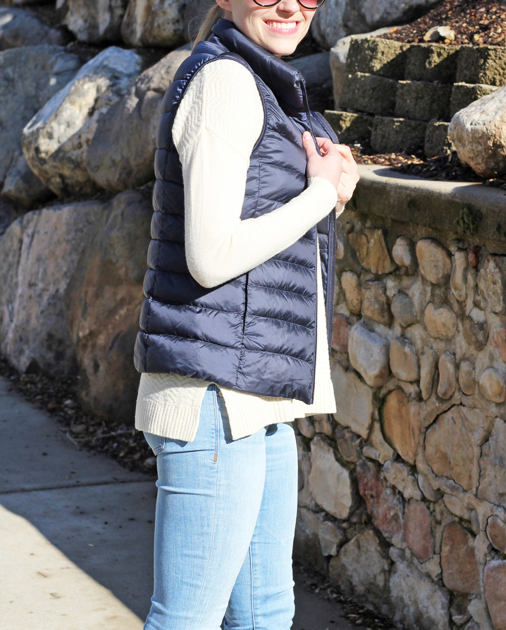 Navy vest + ivory sweater + light wash denim — Cotton Cashmere Cat Hair
