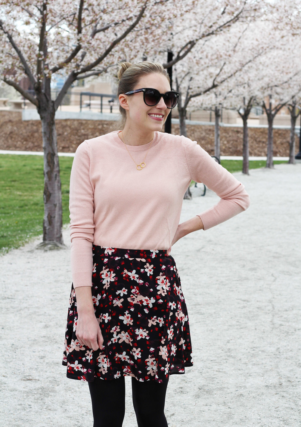 Dark floral skirt outfit with blush cashmere sweater — Cotton Cashmere Cat Hair