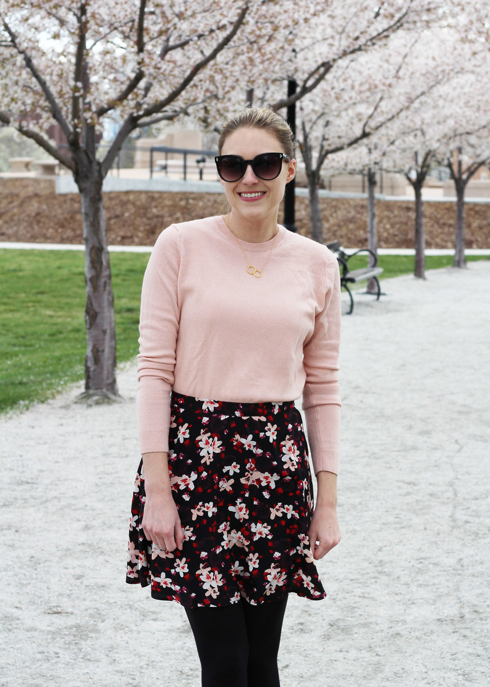 Everlane blush pink cashmere sweater outfit with black floral skirt — Cotton Cashmere Cat Hair