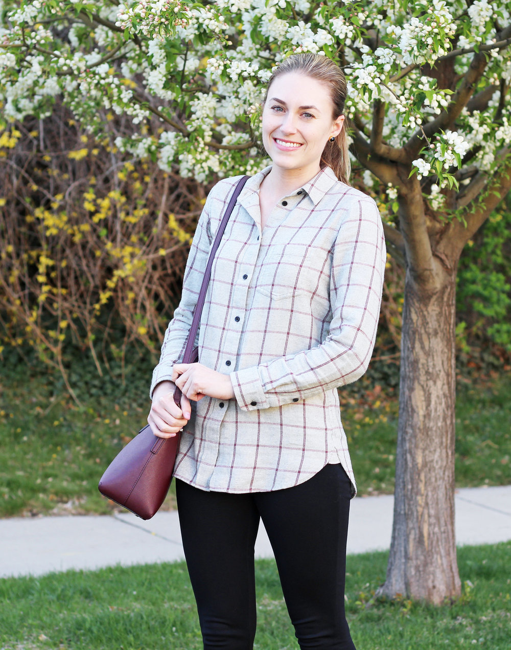 Burgundy Kate Spade bag outfit with grey windowpane flannel shirt — Cotton Cashmere Cat Hair