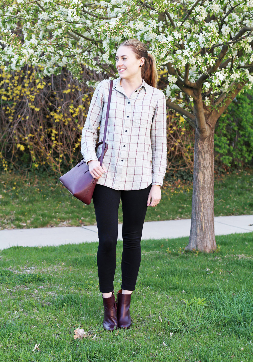 Grey windowpane flannel shirt, black Pixie pants, burgundy ankle boots, Kate Spade bag — Cotton Cashmere Cat Hair
