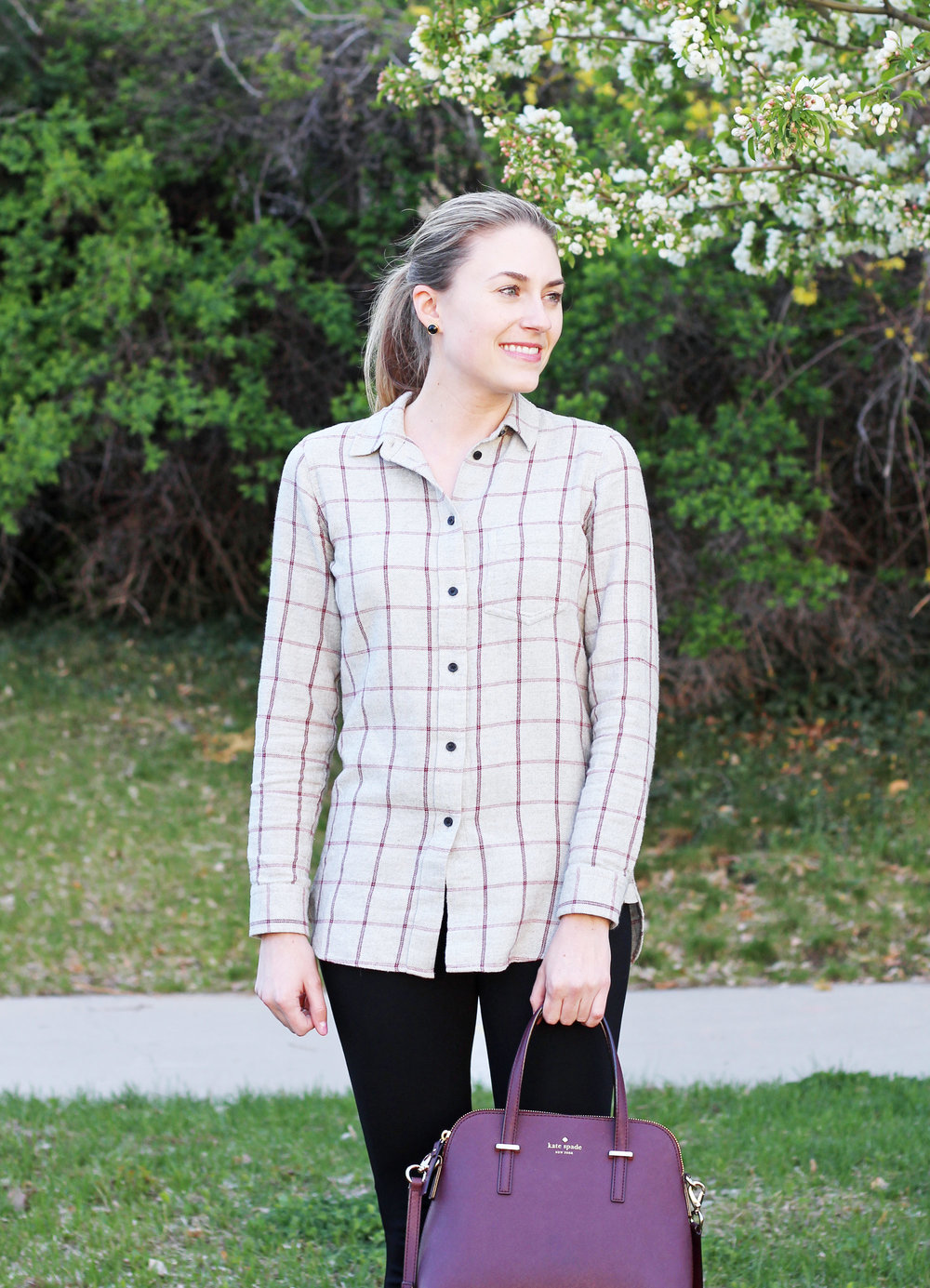 Madewell grey windowpane flannel shirt outfit — Cotton Cashmere Cat Hair