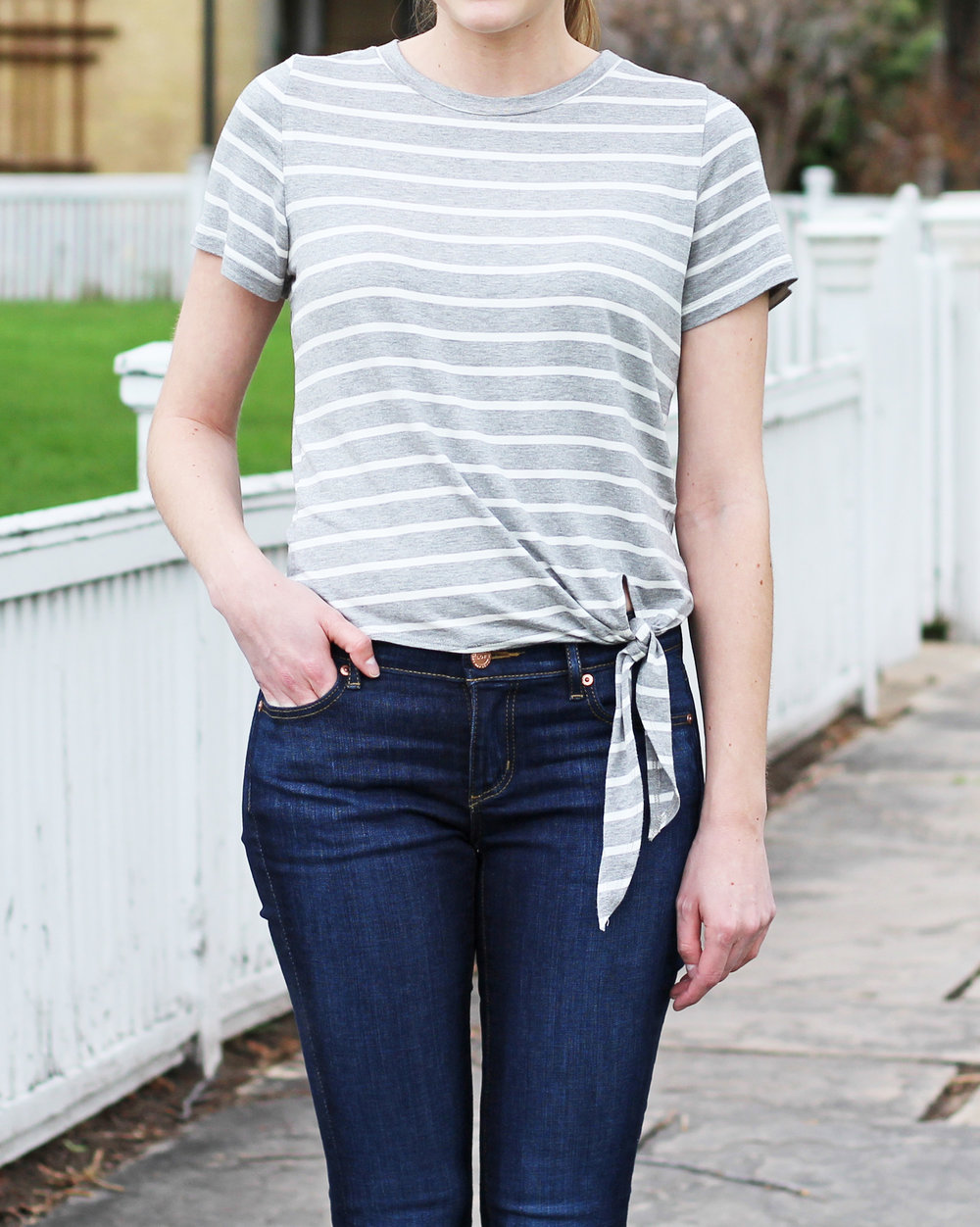 Amour Vert 'Julita' striped side-tie top — Cotton Cashmere Cat Hair