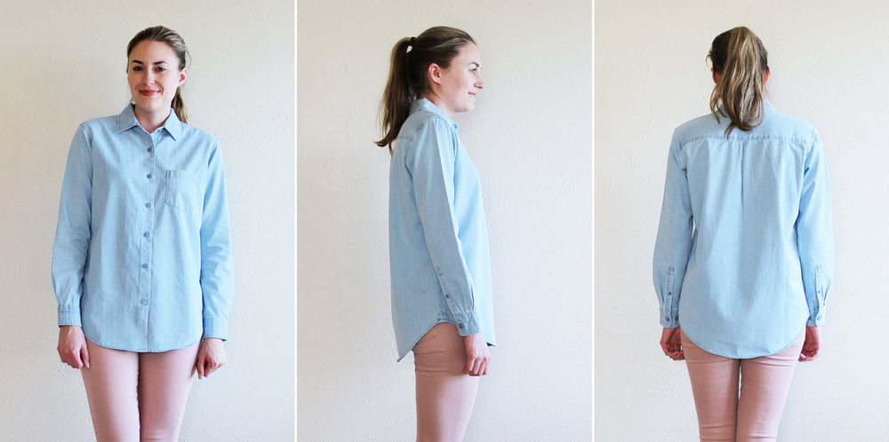 Grana 'Denim Boyfriend Shirt' in stone and bleach wash — via Cotton Cashmere Cat Hair