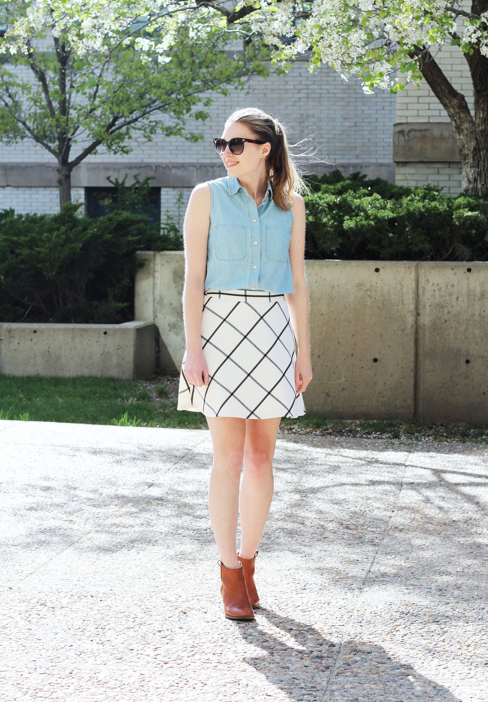 Windowpane skirt outfit with sleeveless chambray shirt and ankle boots — Cotton Cashmere Cat Hair