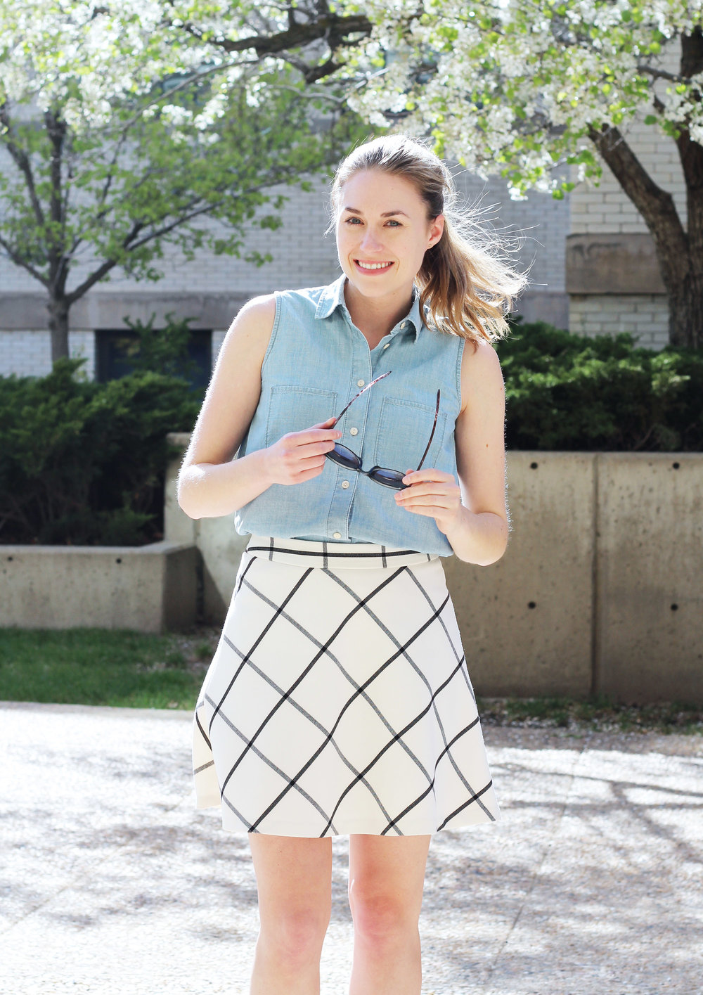Sleeveless chambray shirt + windowpane skirt — Cotton Cashmere Cat Hair