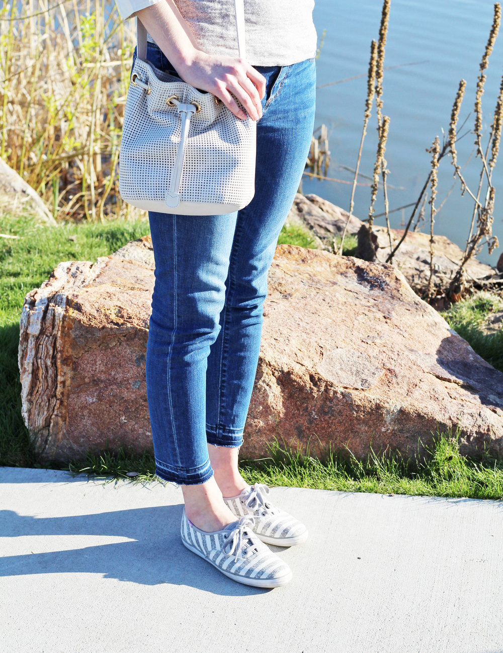 Grey striped Keds outfit with white bucket bag — Cotton Cashmere Cat Hair