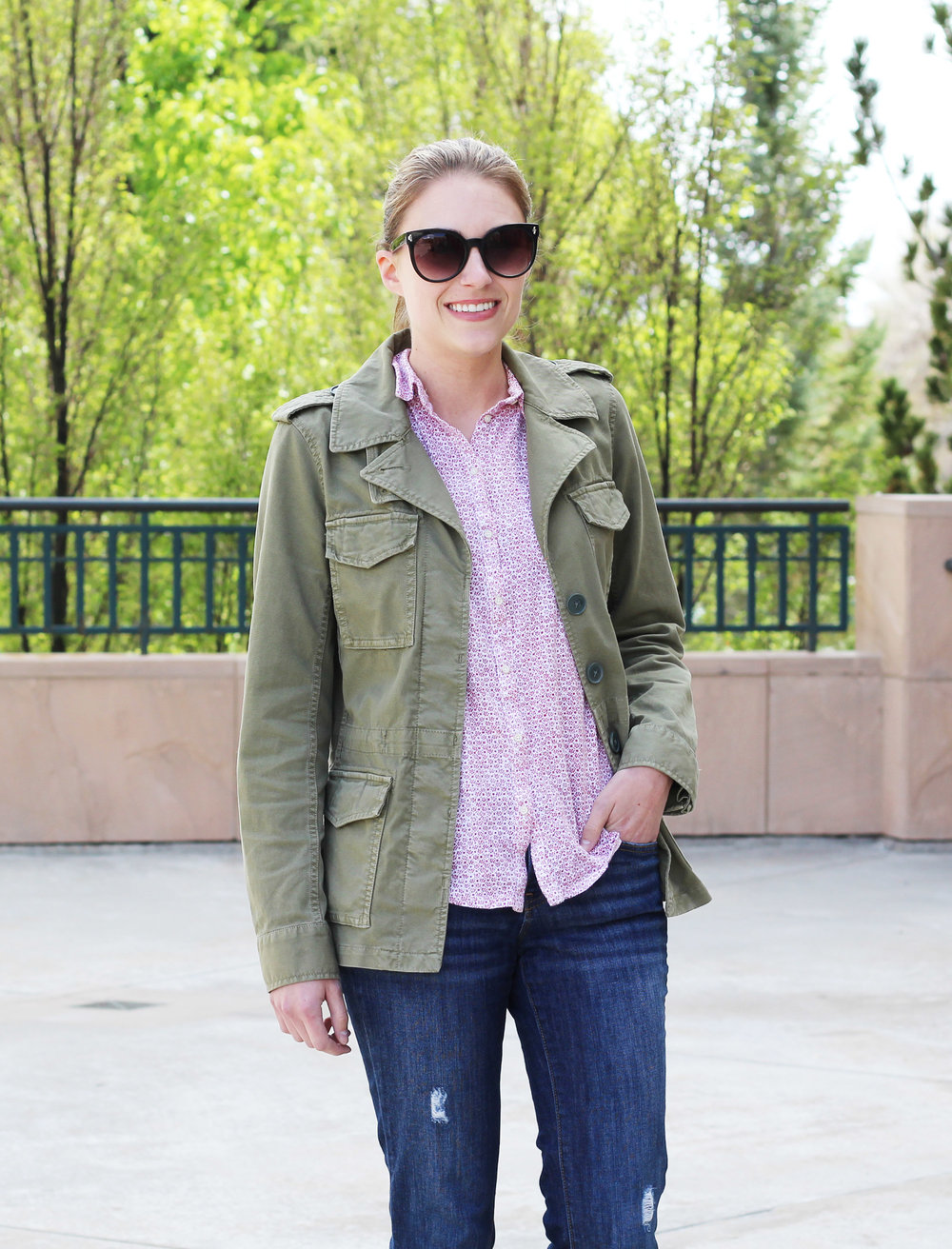 Army green utility jacket spring outfit with floral shirt — Cotton Cashmere Cat Hair