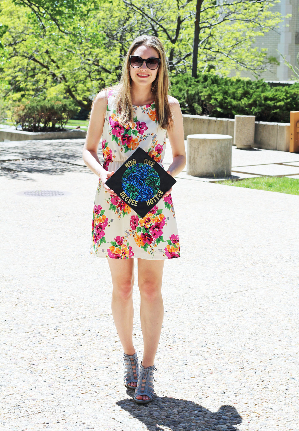 Graduation outfit with floral dress and blue sandals — Cotton Cashmere Cat Hair