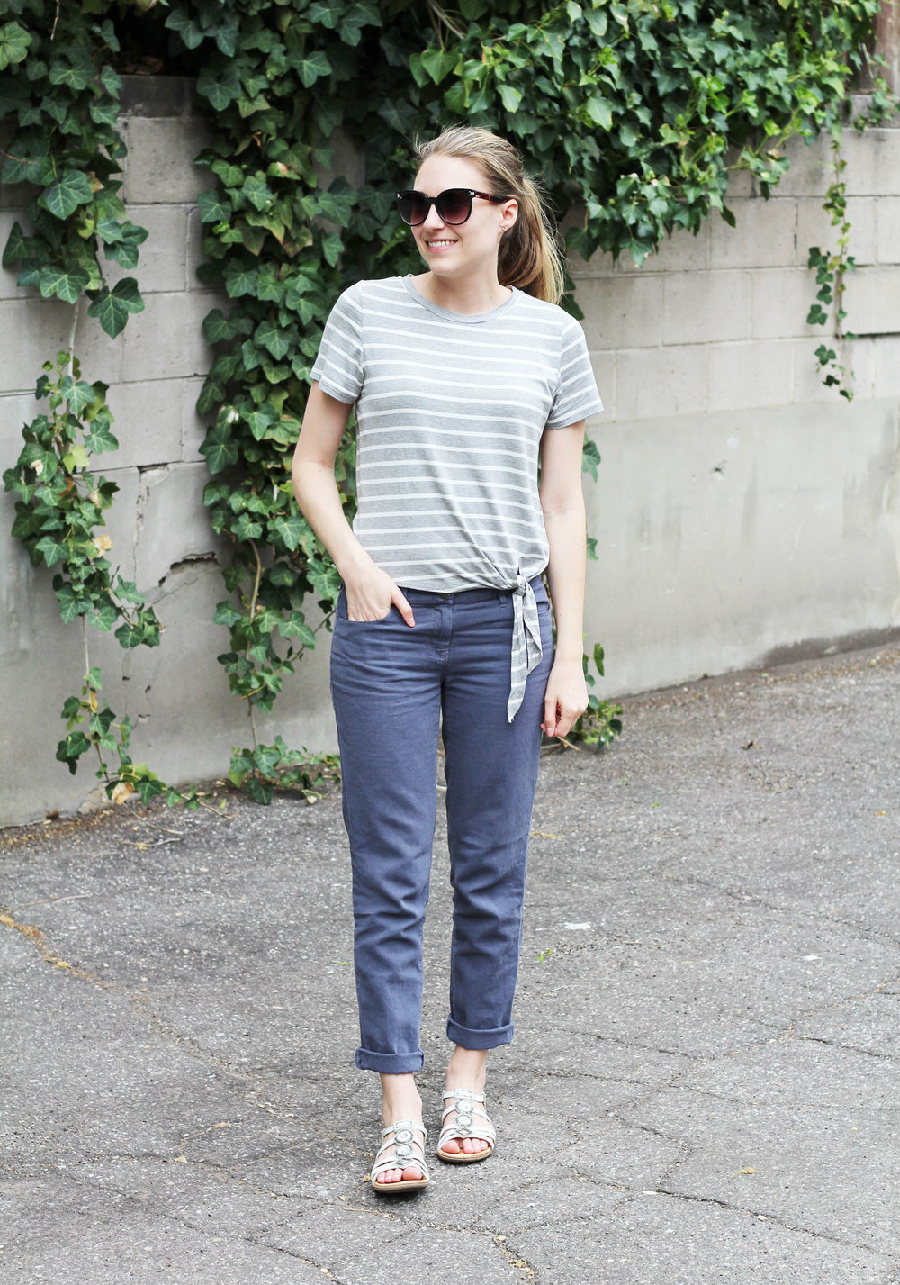 Grey striped side-tie tee outfit with cotton-linen pants and white sandals — Cotton Cashmere Cat Hair