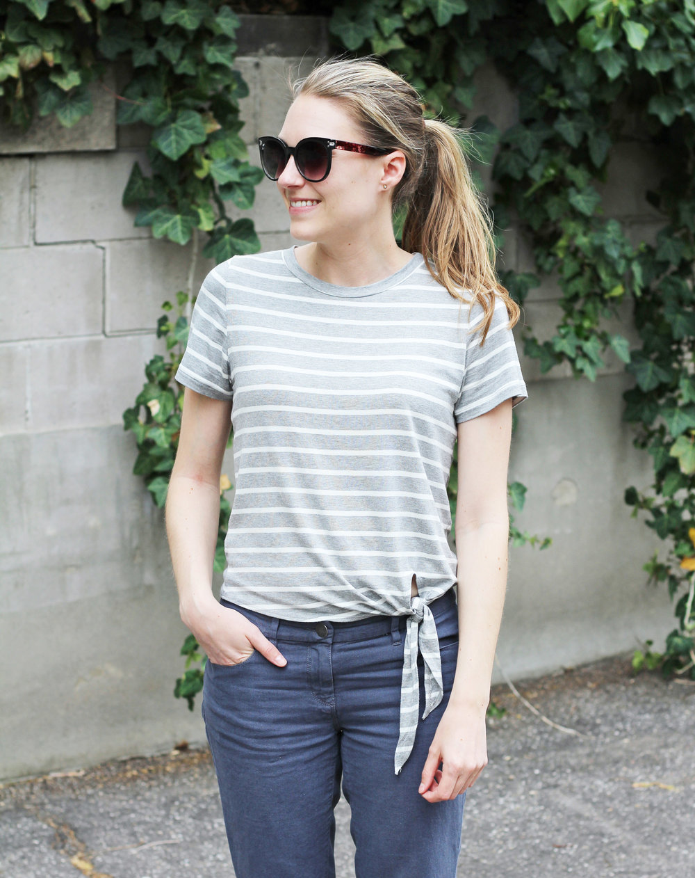 Amour Vert striped side-tie tee outfit — Cotton Cashmere Cat Hair