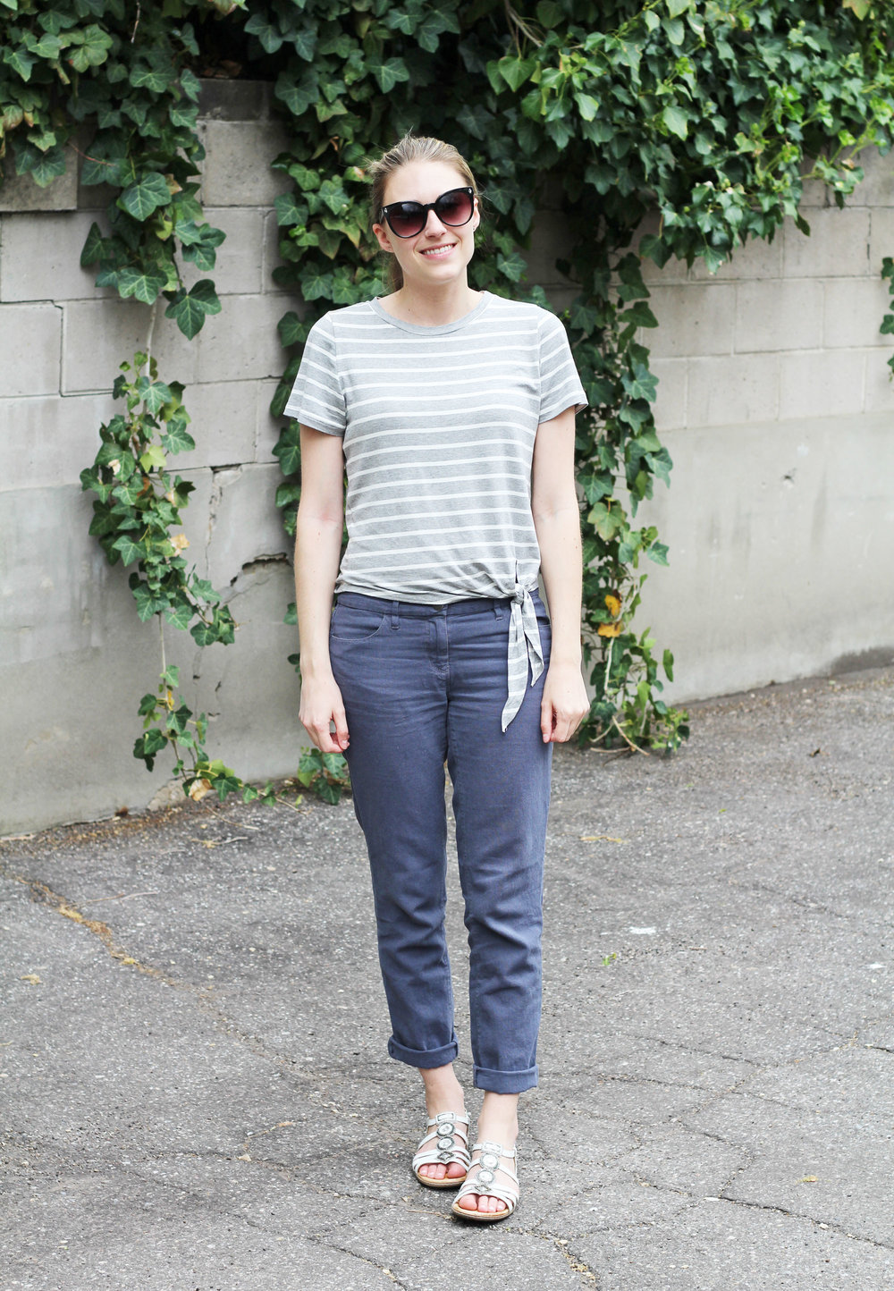 Cotton-linen pants outfit with striped side-tie tee and Earth Seaside sandals — Cotton Cashmere Cat Hair