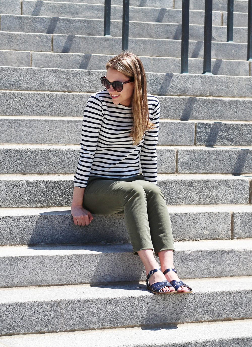 Navy striped tee outfit with green chino pants and Salt Water sandals — Cotton Cashmere Cat Hair