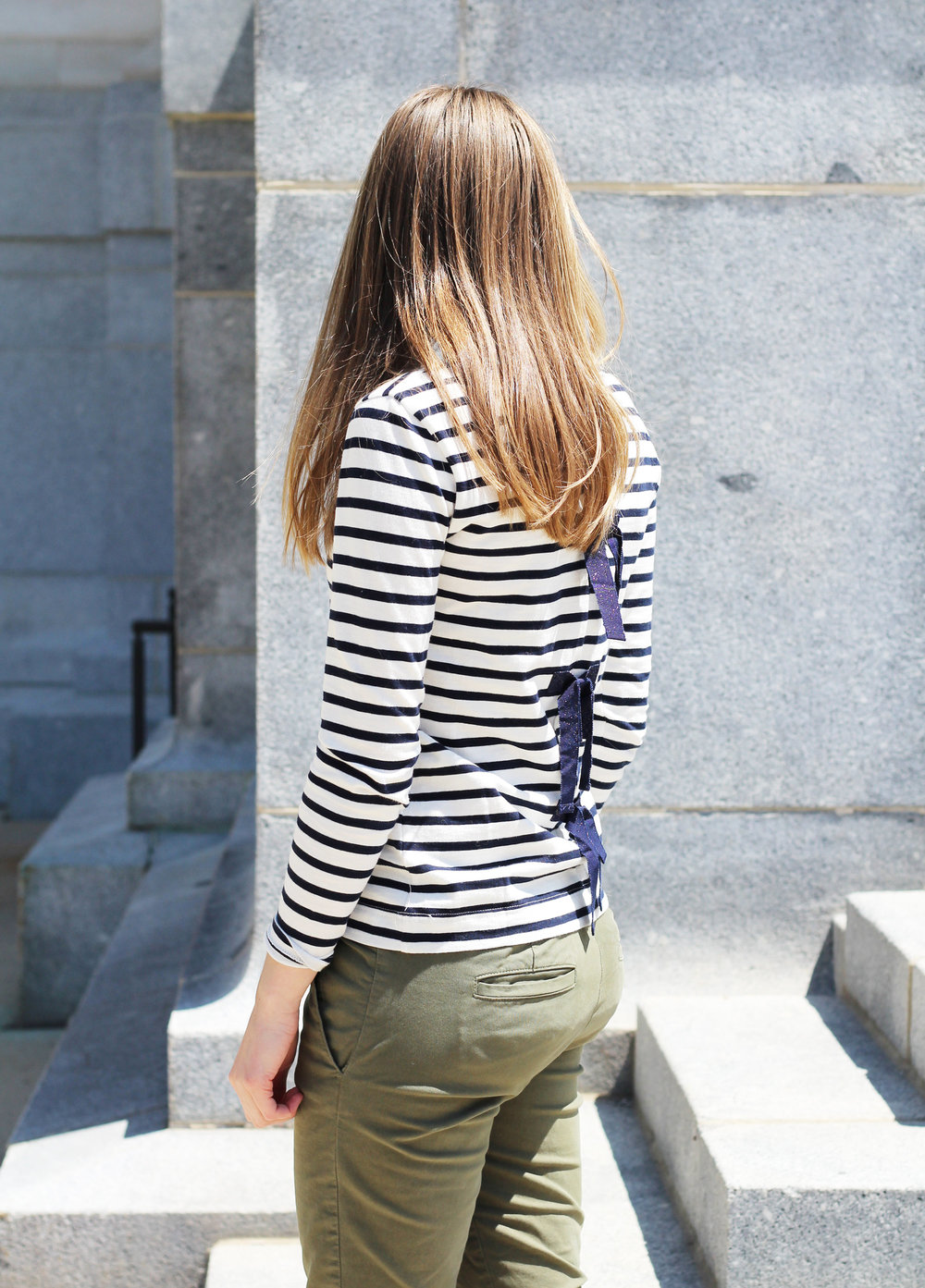 J.Crew navy striped bow-back tee outfit — Cotton Cashmere Cat Hair