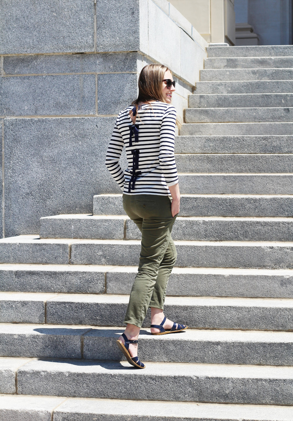 Navy striped bow-back tee outfit with green chino pants — Cotton Cashmere Cat Hair