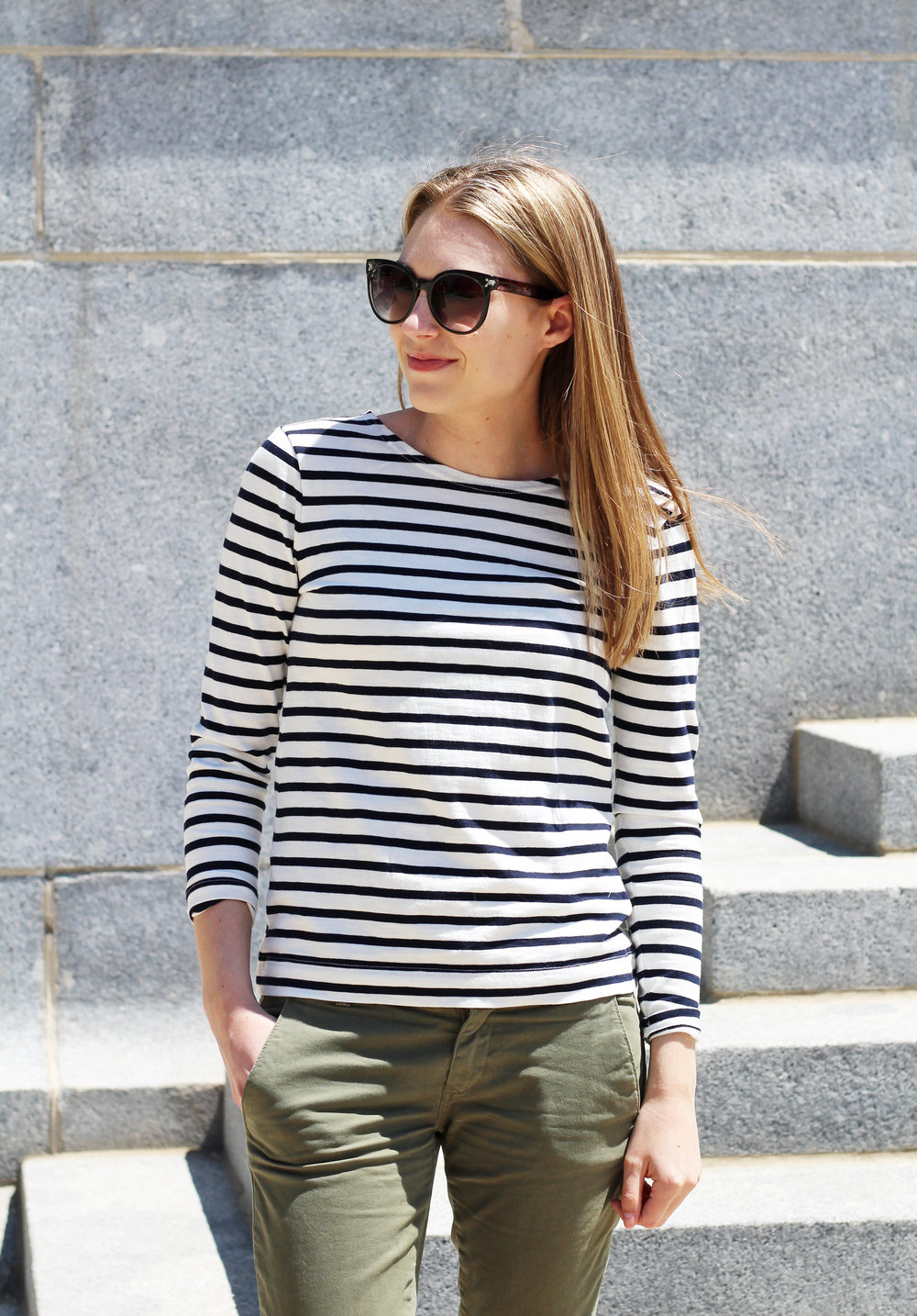 Spring outfit with navy striped tee and green chino pants — Cotton Cashmere Cat Hair