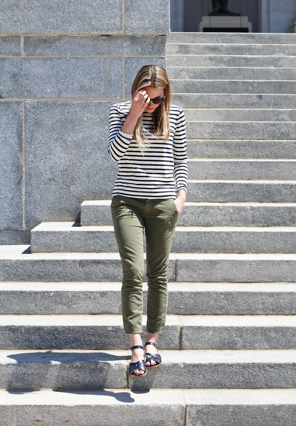 Navy striped tee, green chino pants, Salt Water sandals — Cotton Cashmere Cat Hair