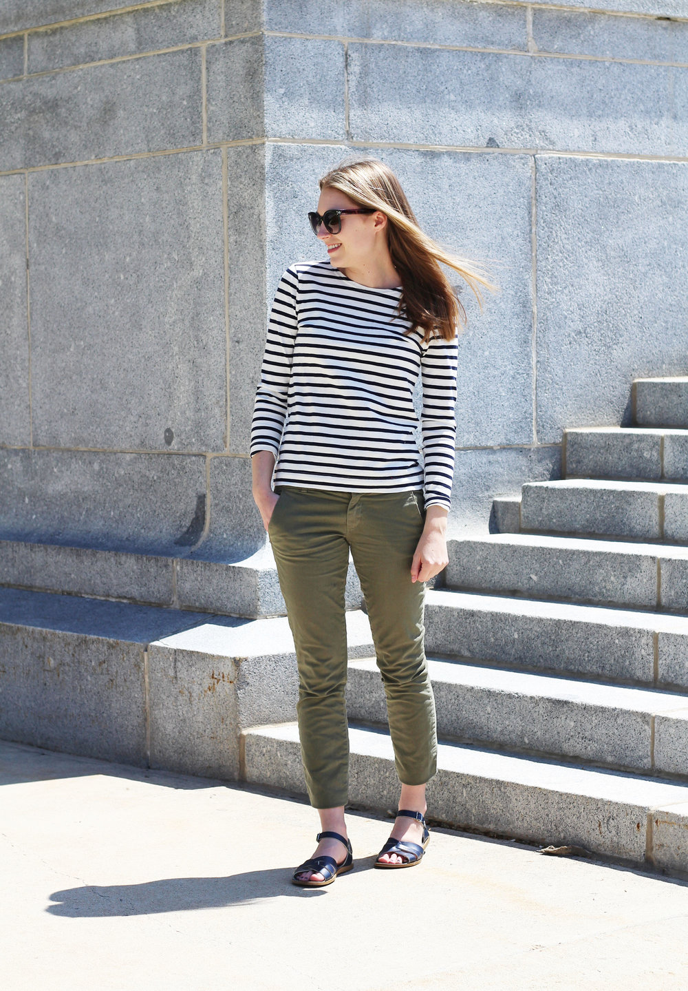Navy striped spring outfit with navy Salt Water sandals — Cotton Cashmere Cat Hair