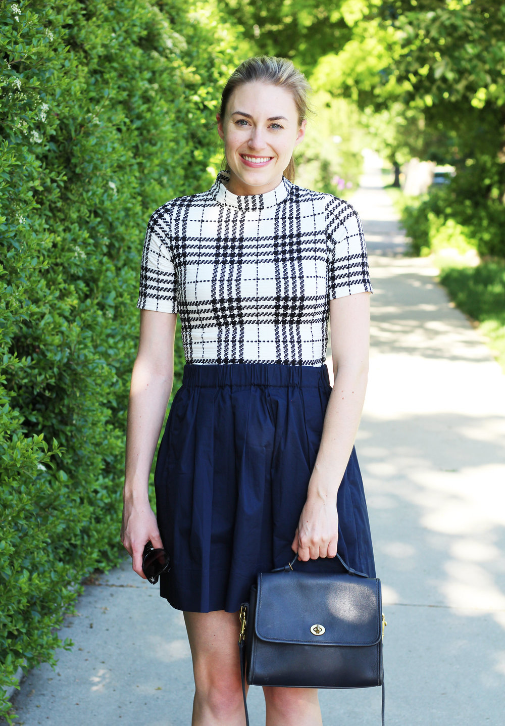 Everlane cotton poplin skirt + vintage Coach Court bag — Cotton Cashmere Cat Hair