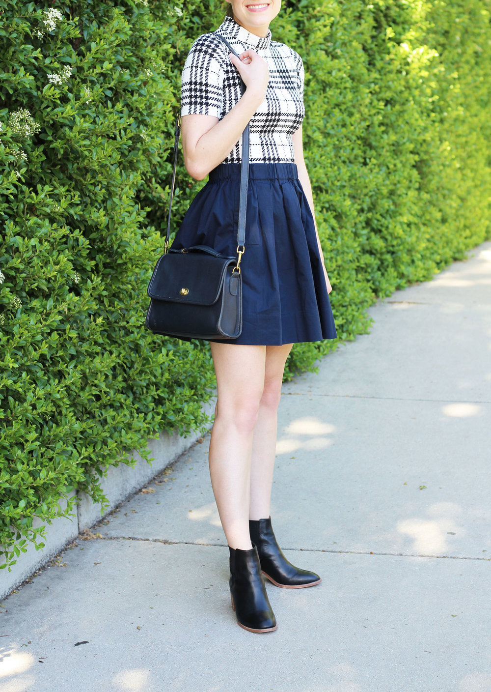 Navy skirt outfit with plaid dress and black ankle boots — Cotton Cashmere Cat Hair