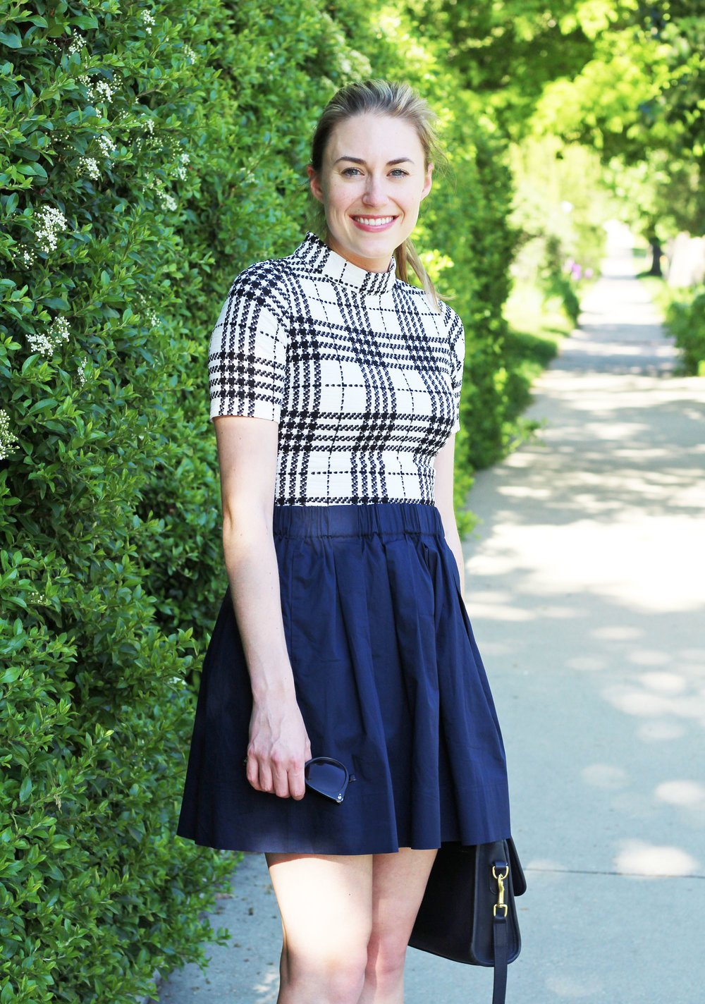 Navy cotton poplin skirt outfit with plaid dress — Cotton Cashmere Cat Hair