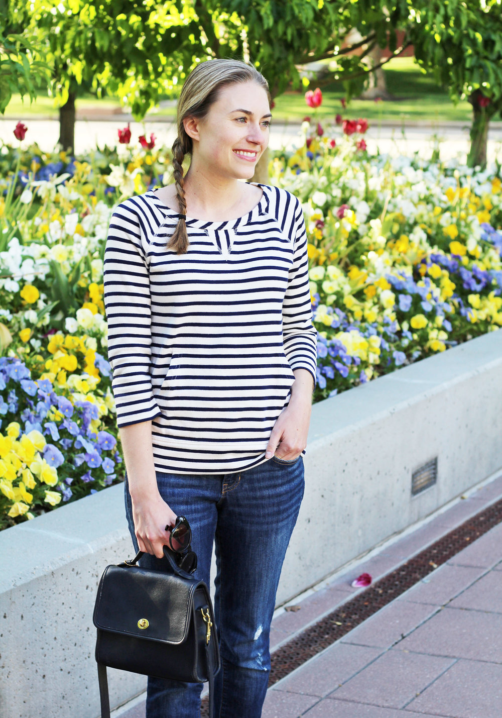 Navy striped sweatshirt top outfit with navy Coach bag — Cotton Cashmere Cat Hair