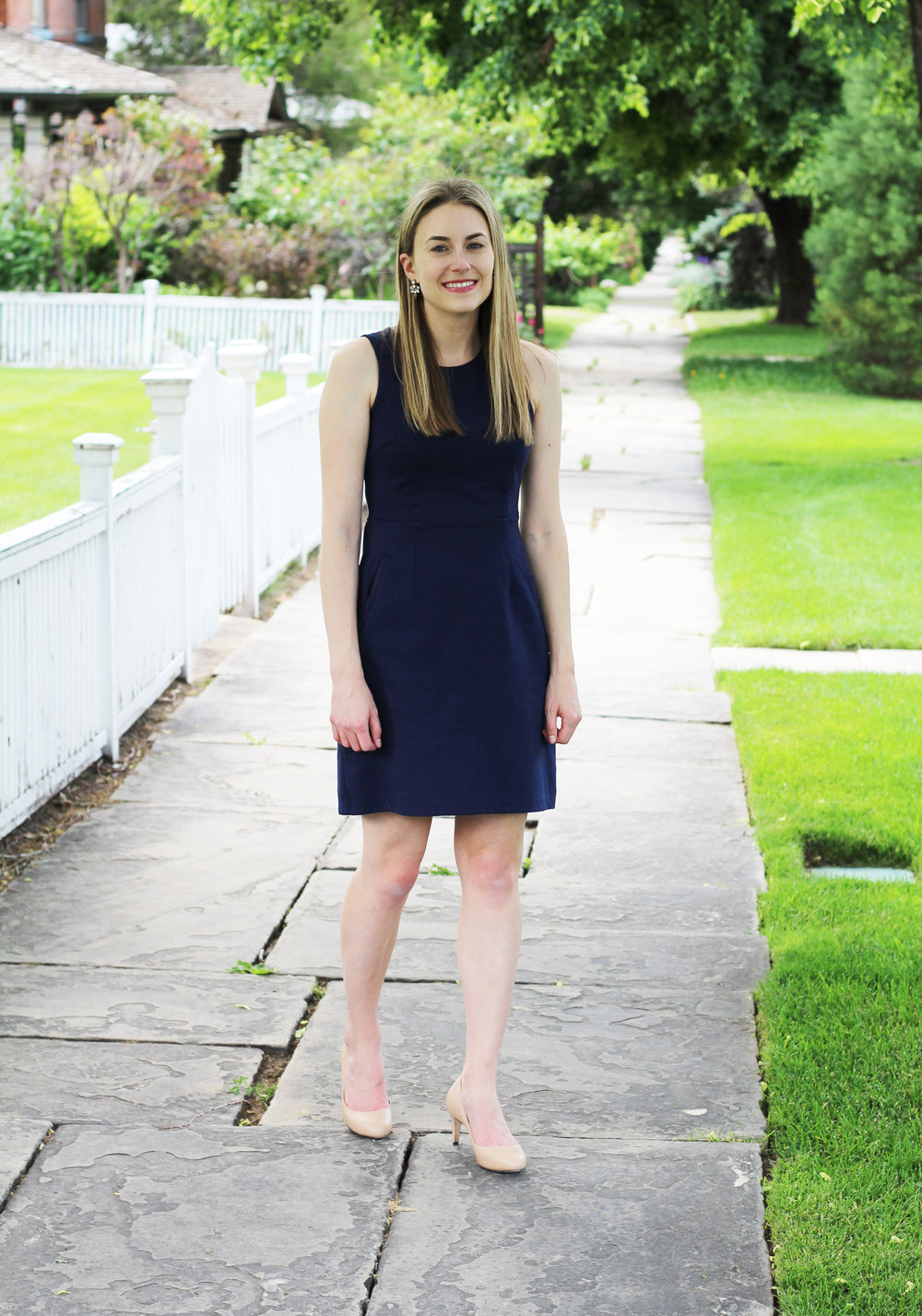 Work outfit with navy sheath dress and nude pumps — Cotton Cashmere Cat Hair