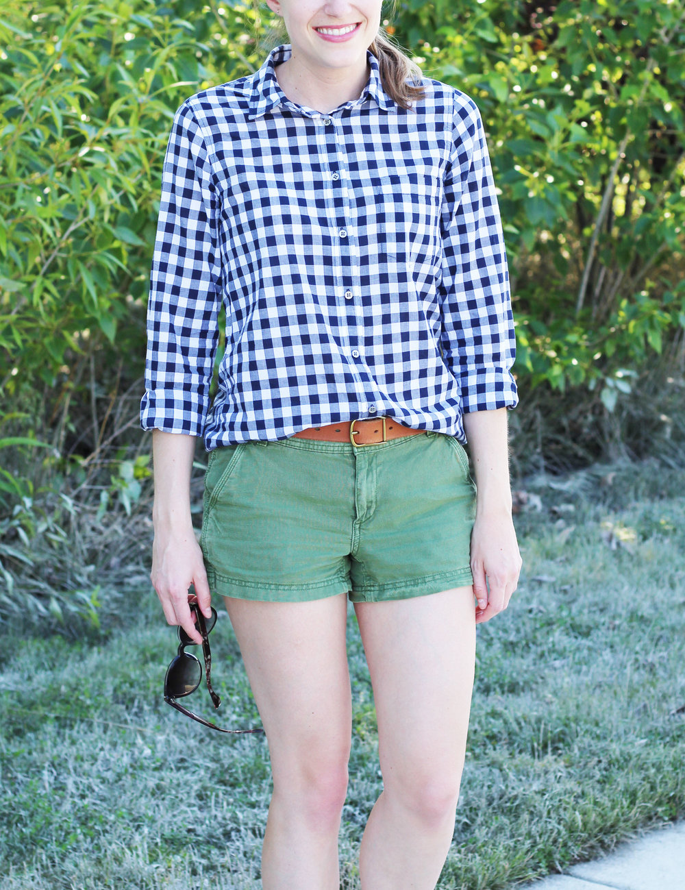 Navy gingham shirt outfit with green shorts — Cotton Cashmere Cat Hair