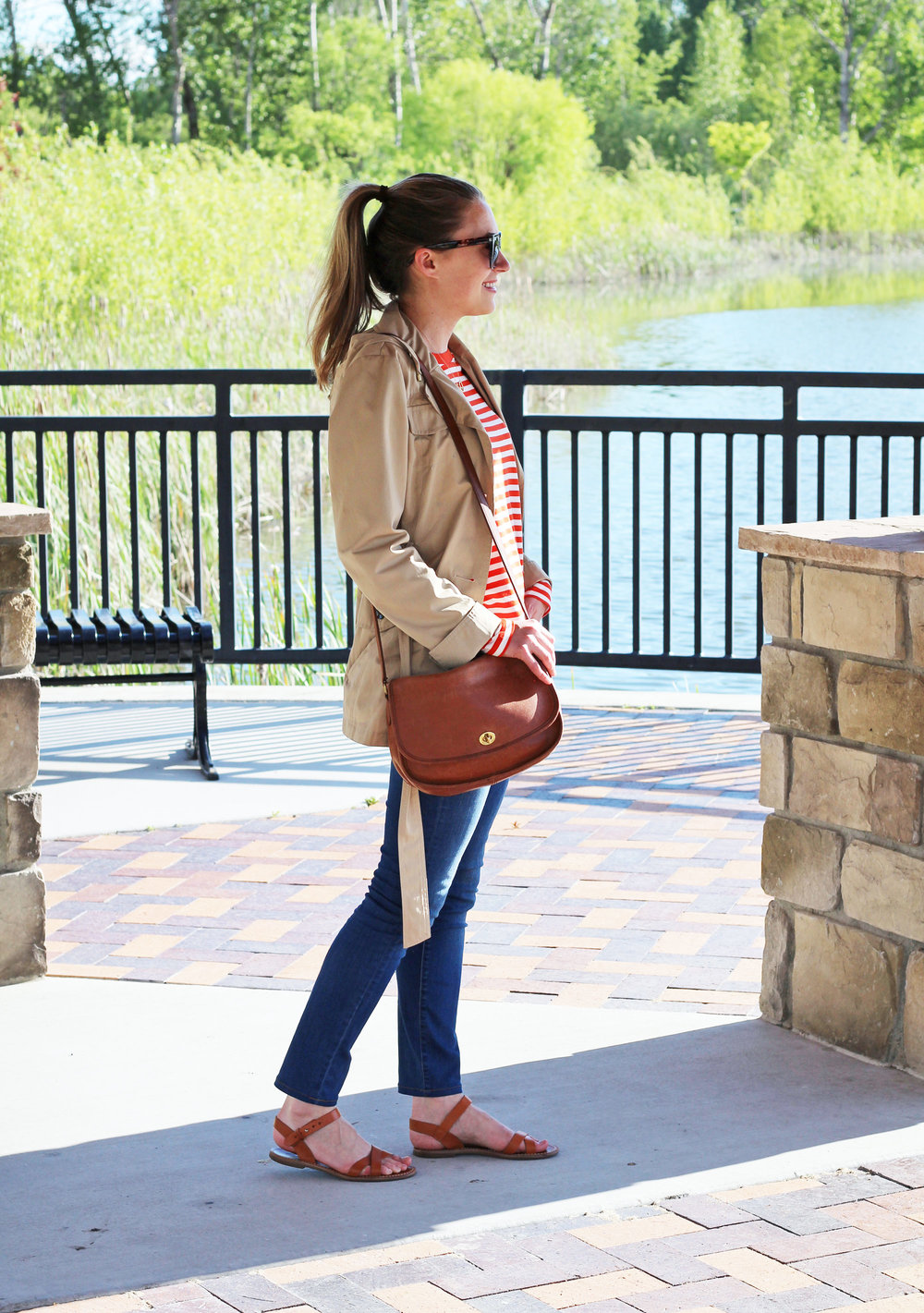 Coach City bag outfit with short trench coat, red stripes, skinny jeans — Cotton Cashmere Cat Hair