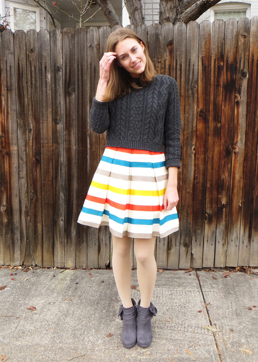 Season remix: Rainbow striped dress