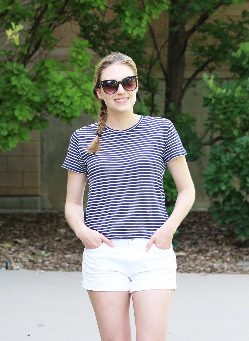 Everlane striped indigo linen box-cut tee outfit — Cotton Cashmere Cat Hair