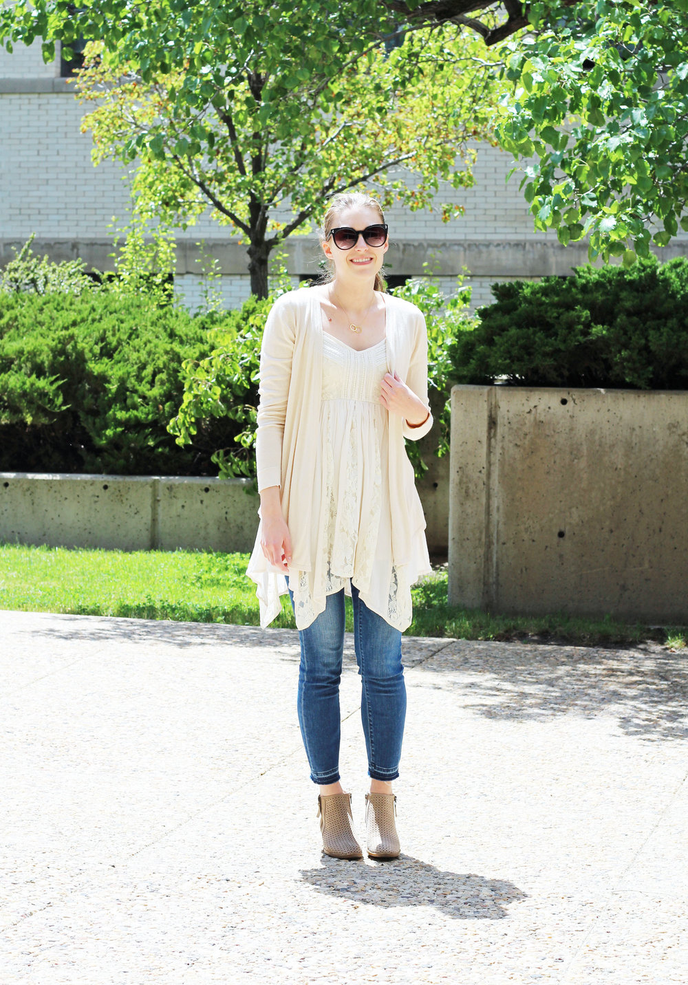 Bohemian lace dress outfit over skinny jeans — Cotton Cashmere Cat Hair