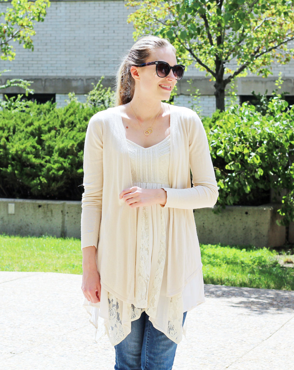 Spring outfit with cream cardigan and lace dress — Cotton Cashmere Cat Hair