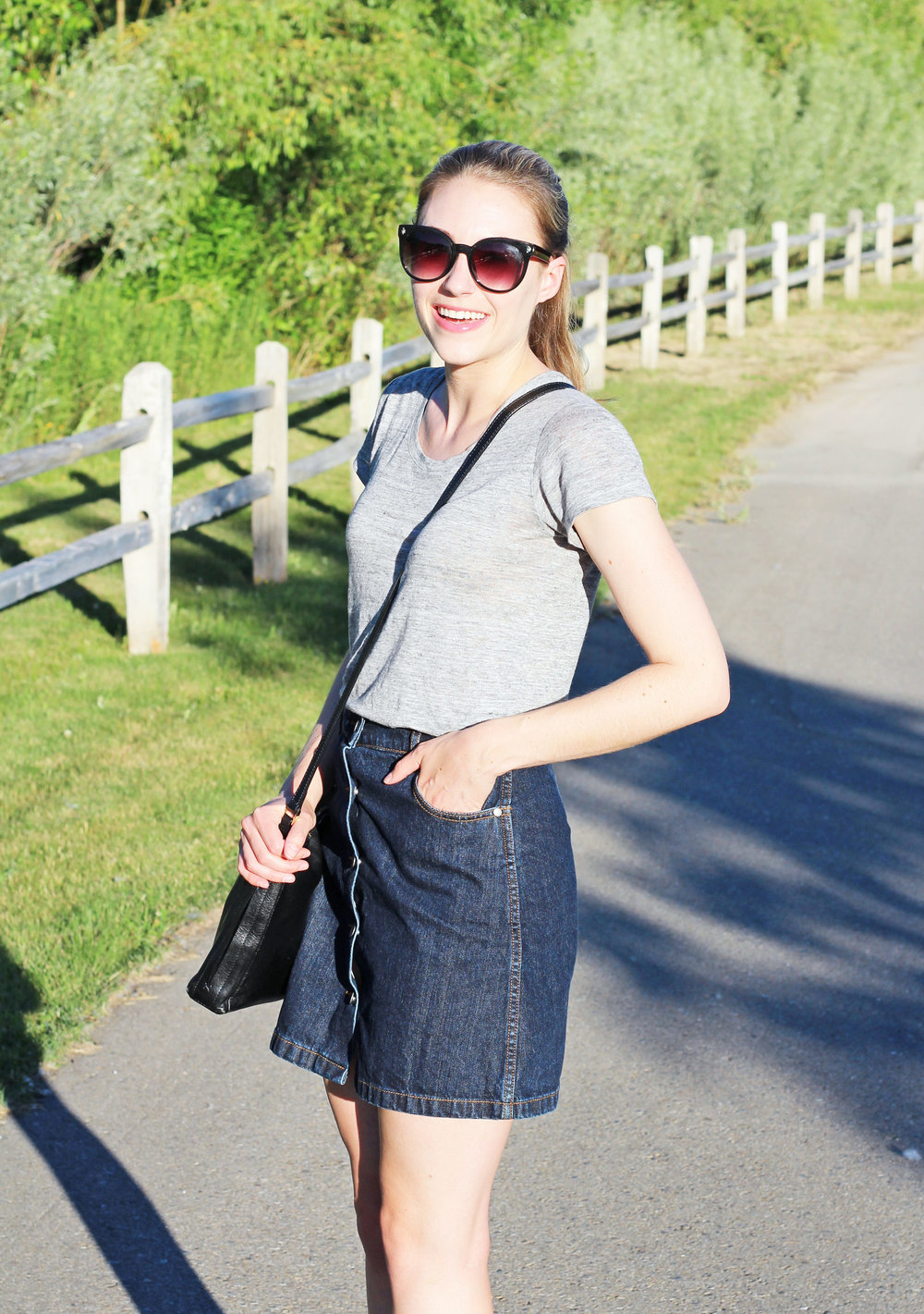 Grey linen tee + denim mini skirt — Cotton Cashmere Cat Hair
