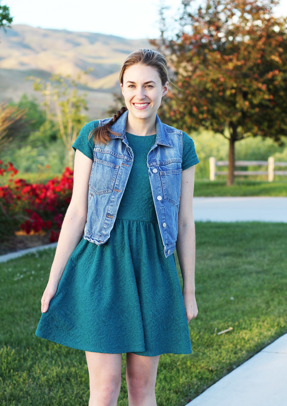 Madewell pocket denim vest outfit with textured dress — Cotton Cashmere Cat Hair