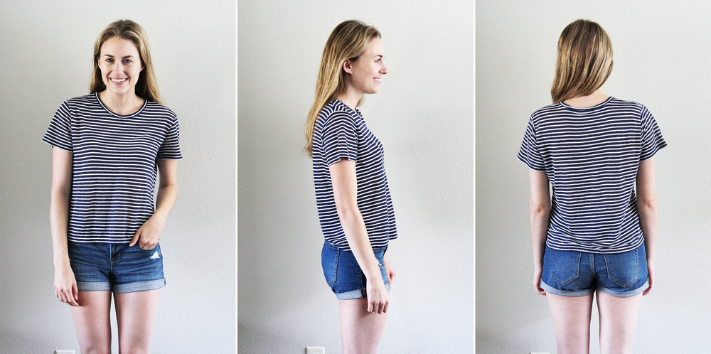 Everlane 'The Linen Box-Cut Tee' in navy stripe — Cotton Cashmere Cat Hair