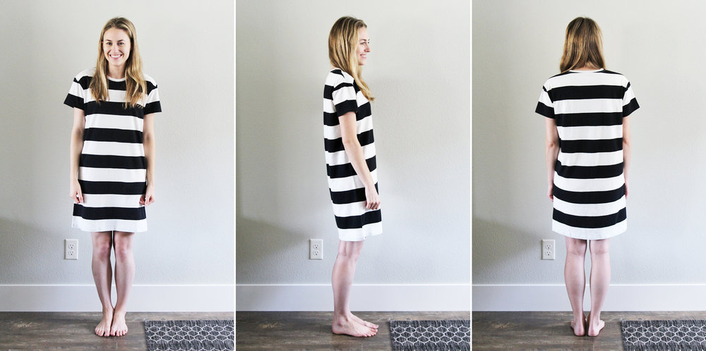 Everlane 'The Cotton Box-Cut Tee Dress' in washed black/bone rugby stripe — Cotton Cashmere Cat Hair