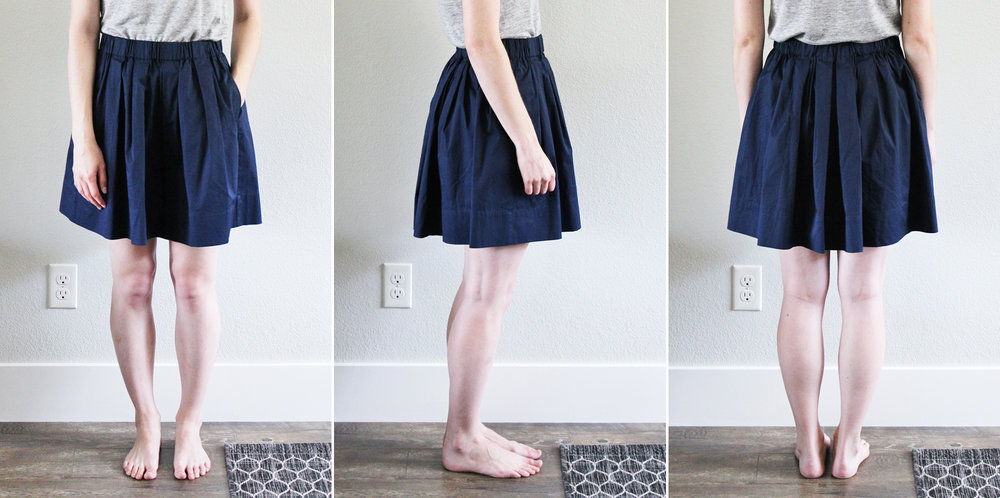 Everlane 'The Cotton Poplin Pleated Skirt' in navy — Cotton Cashmere Cat Hair