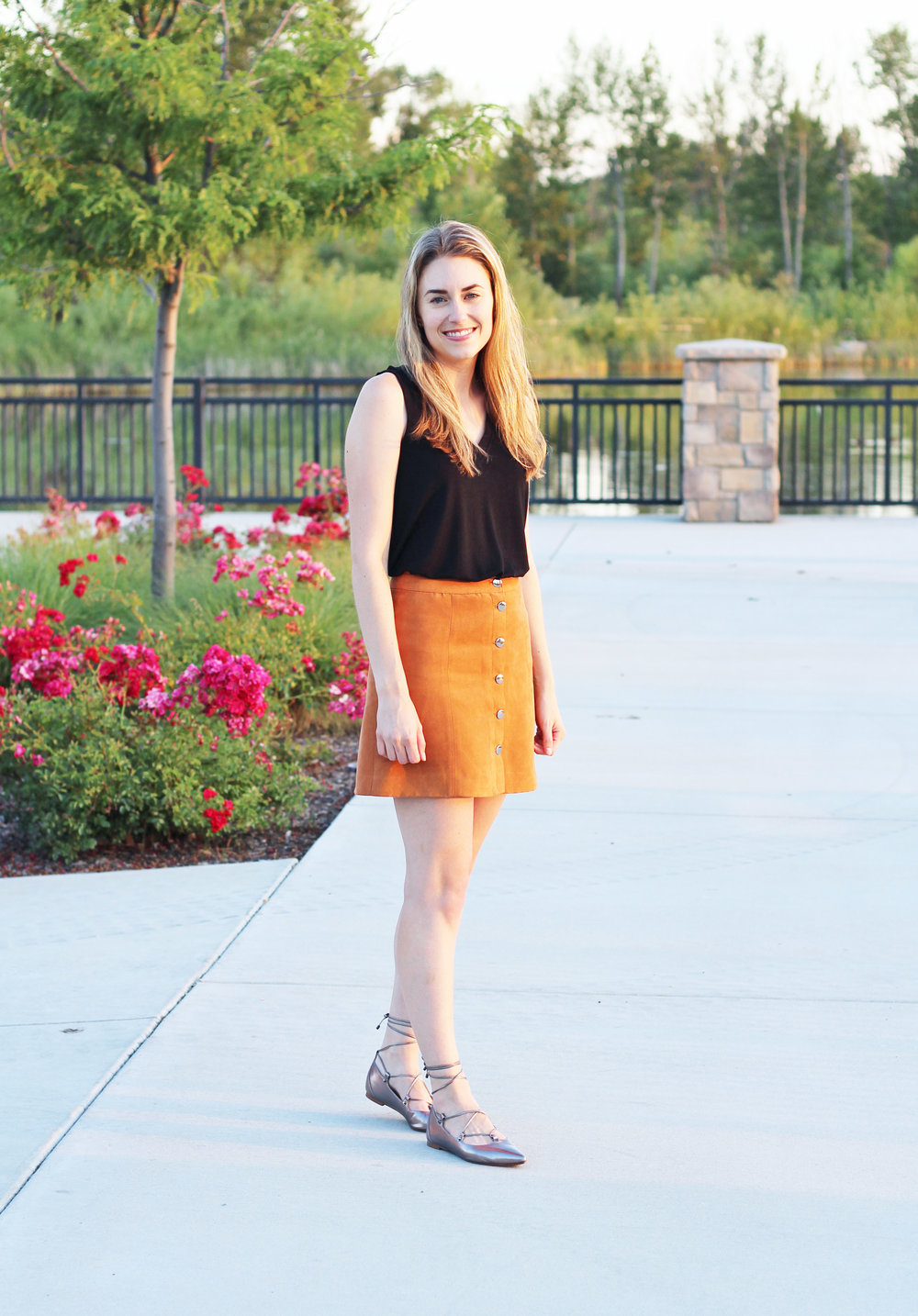 Tan skirt summer outfit with black tank and pewter lace-up flats — Cotton Cashmere Cat Hair