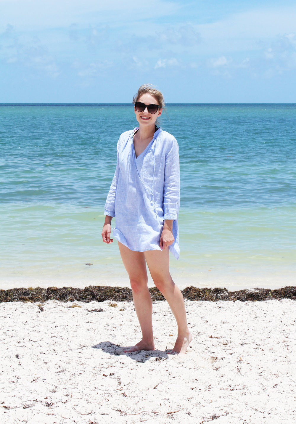 J.Crew linen beach tunic — Cotton Cashmere Cat Hair