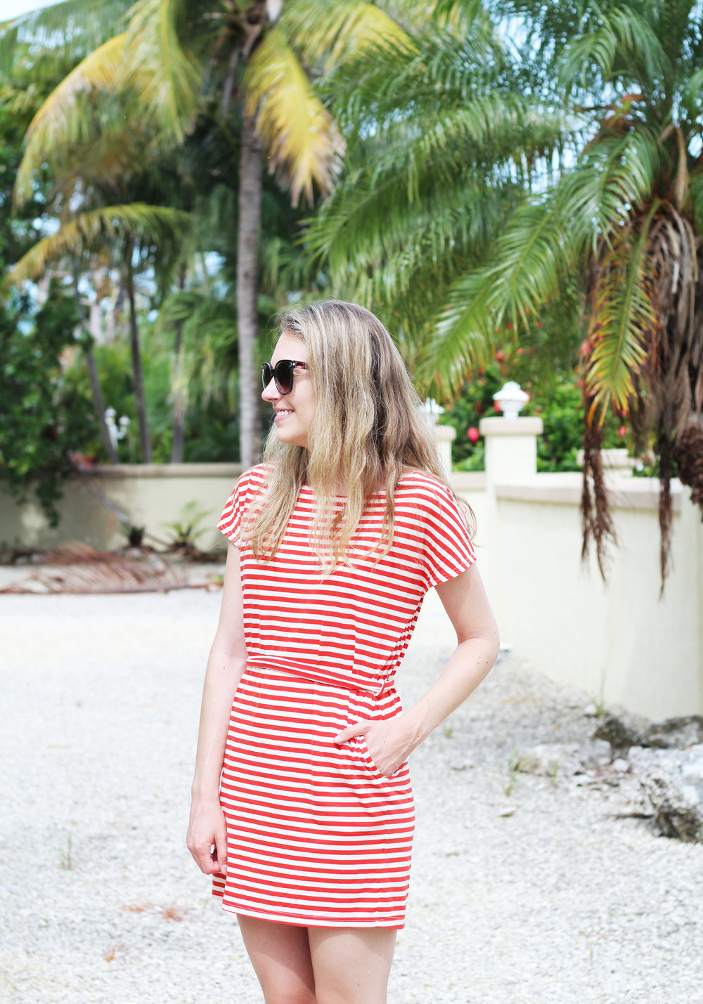 Red striped dress in the Florida Keys — Cotton Cashmere Cat Hair