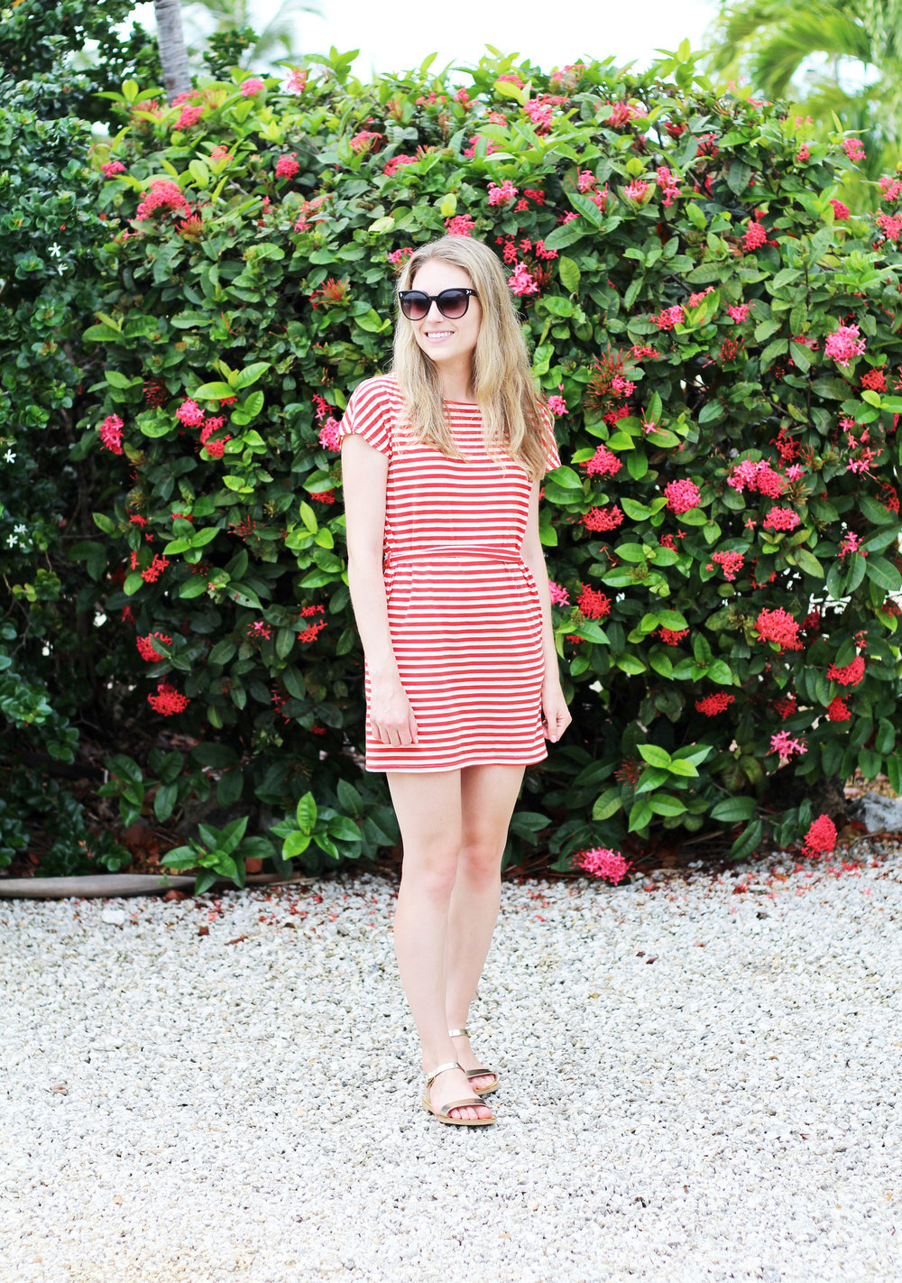 Casual summer outfit with red mini dress and gold sandals — Cotton Cashmere Cat Hair
